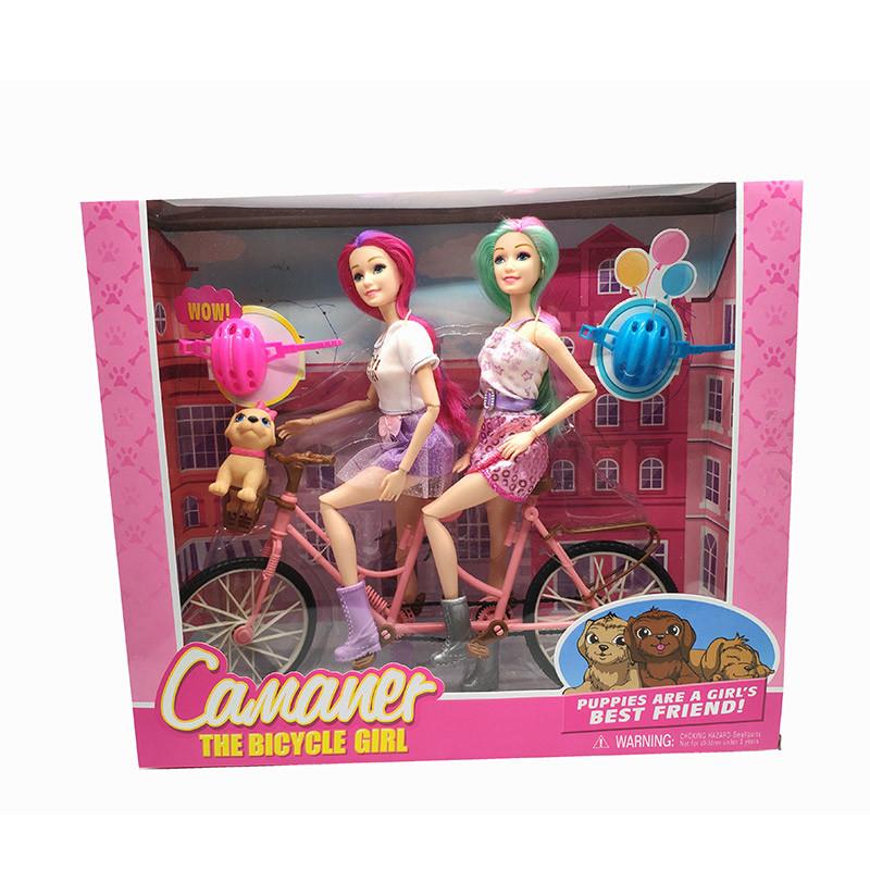 Кукла  шарнир, двойной велосипед, с аксесс, в кор.36*11*31cm /24-2/