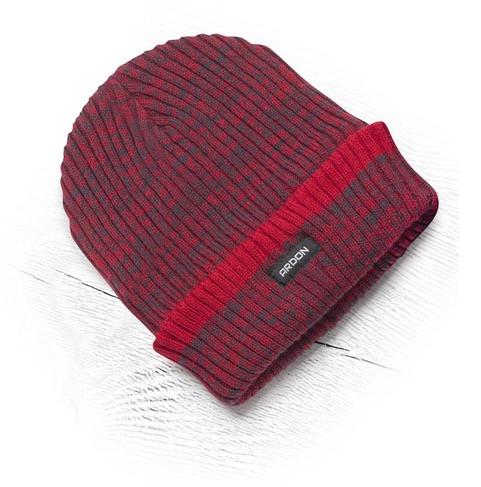 Теплая зимняя вязаная шапка + флис Vision Neo красный