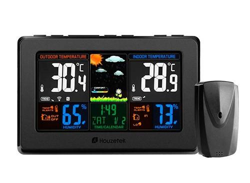 Метеостанция с большим экраном и внешним беспроводным датчиком Houzetek HT-WS001