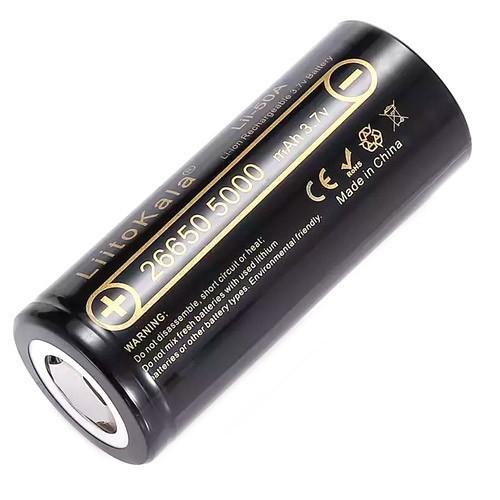 Аккумулятор 26650 высокотоковый Li-ion 3.7В 5000мАч LiitoKala Lii-50A (02178)