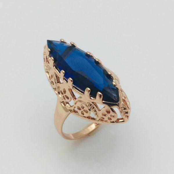 Перстень Маркиза синий камень, позолота 18К , размер  18, 19, 20, 21