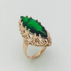 Перстень Маркиза зеленый камень, позолота 18К , размер  19, 20, 21