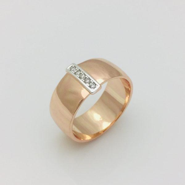 Кольцо Широкое с полоской циркония, размер 17, 18, 19, 20, 21, 22