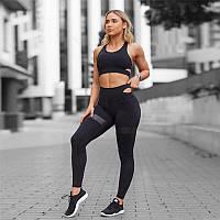 Спортивный женский костюм для фитнеса бега йоги. Спортивные лосины леггинсы топ для фитнеса, Размер S (черный)