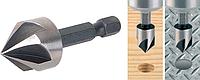 Зенкер 10 мм по металлу, дереву, пластику HSS с шестигранным хвостовиком, Tactix