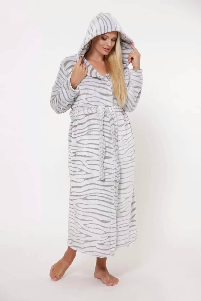 Длинный женский махровый халат Шиншилла Romance М-5XL