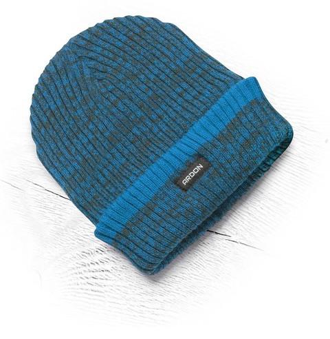 Теплая зимняя вязаная шапка + флис Vision Neo синий