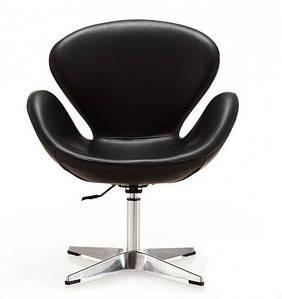 Кресло Сван, мягкое, металл, экокожа черного цвета