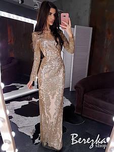 Длинное платье по фигуре из сетки с блестками и длинным рукавом r66ty672E