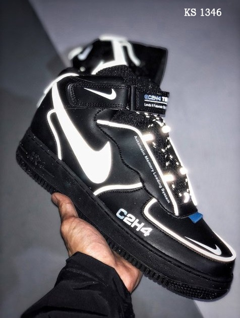 Мужские кроссовки C2H4 Nike Air Force 1 Mid (черные)