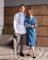 Парні лляні вишиванки сукня та сорочка