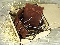 Подарок мужчине , кожаная обложка для паспорта , кожаный ремень в джинсы