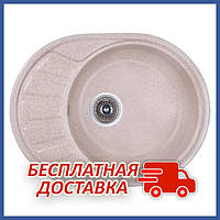 Овальная гранитная кухонная мойка Fosto5845kolor 806 (FOS5845SGA806) врезная, цвет - Коричневый
