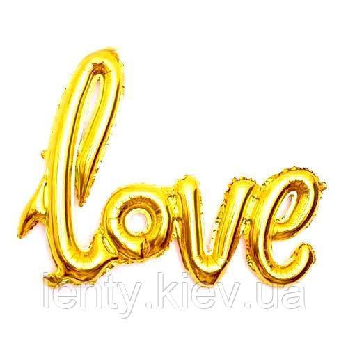 """Напис фольгована """"LOVE"""". Довжина напису: 65см Золото"""