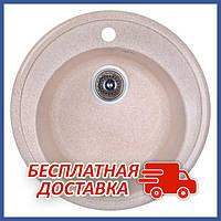 Круглая гранитная кухонная мойка FostoD510kolor 806 (FOSD510SGA806) врезная, цвет - Коричневый