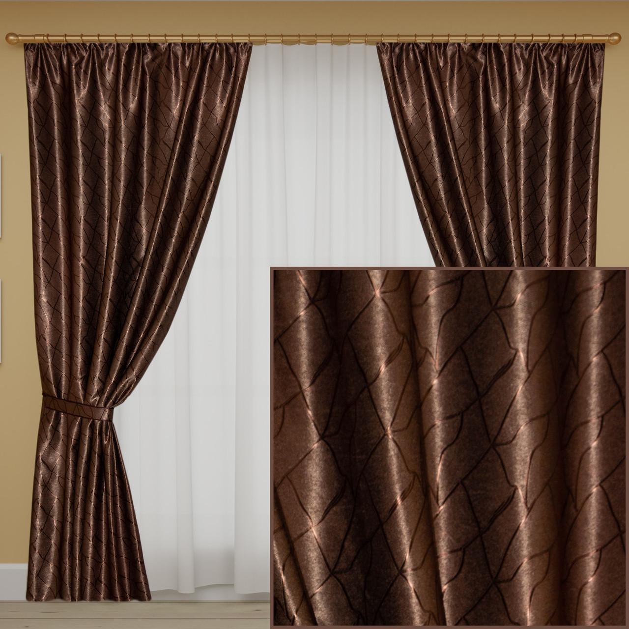 Коричневые шторы блэкаут для зала, спальни. Цена за пару