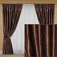 Коричневые шторы блэкаут для зала, спальни. Цена за пару, фото 1