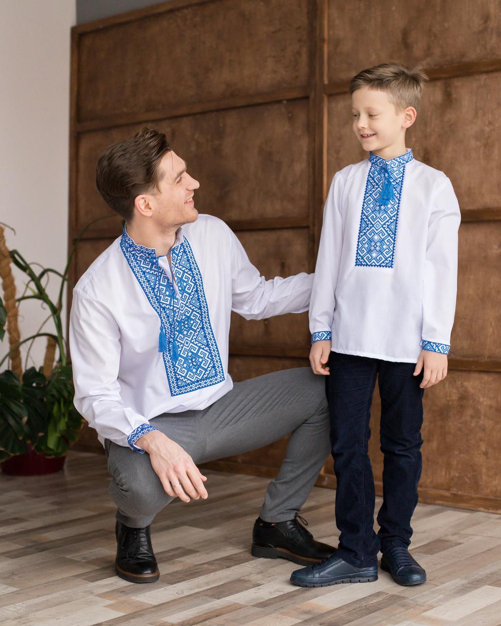 Вишиванки для тата та сина з синьою вишивкою