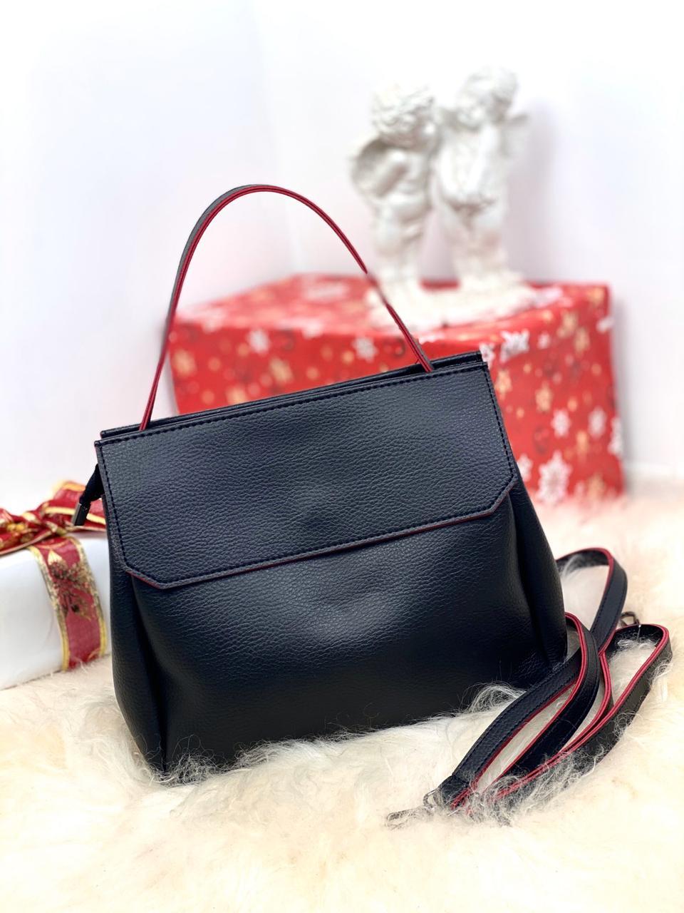 Черная женская небольшая сумка средняя деловая классическая сумочка кожзам