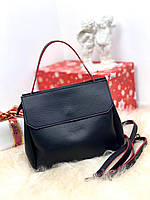 Черная женская небольшая сумка средняя деловая классическая сумочка кожзам, фото 1