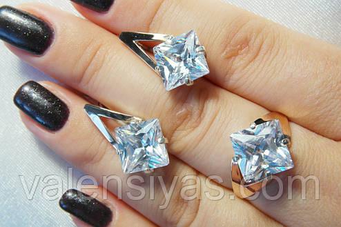 Набор серебряных украшений с красивым камнем и золотом, фото 2