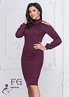Теплое платье с открытыми плечами 0216 D/01, фото 1