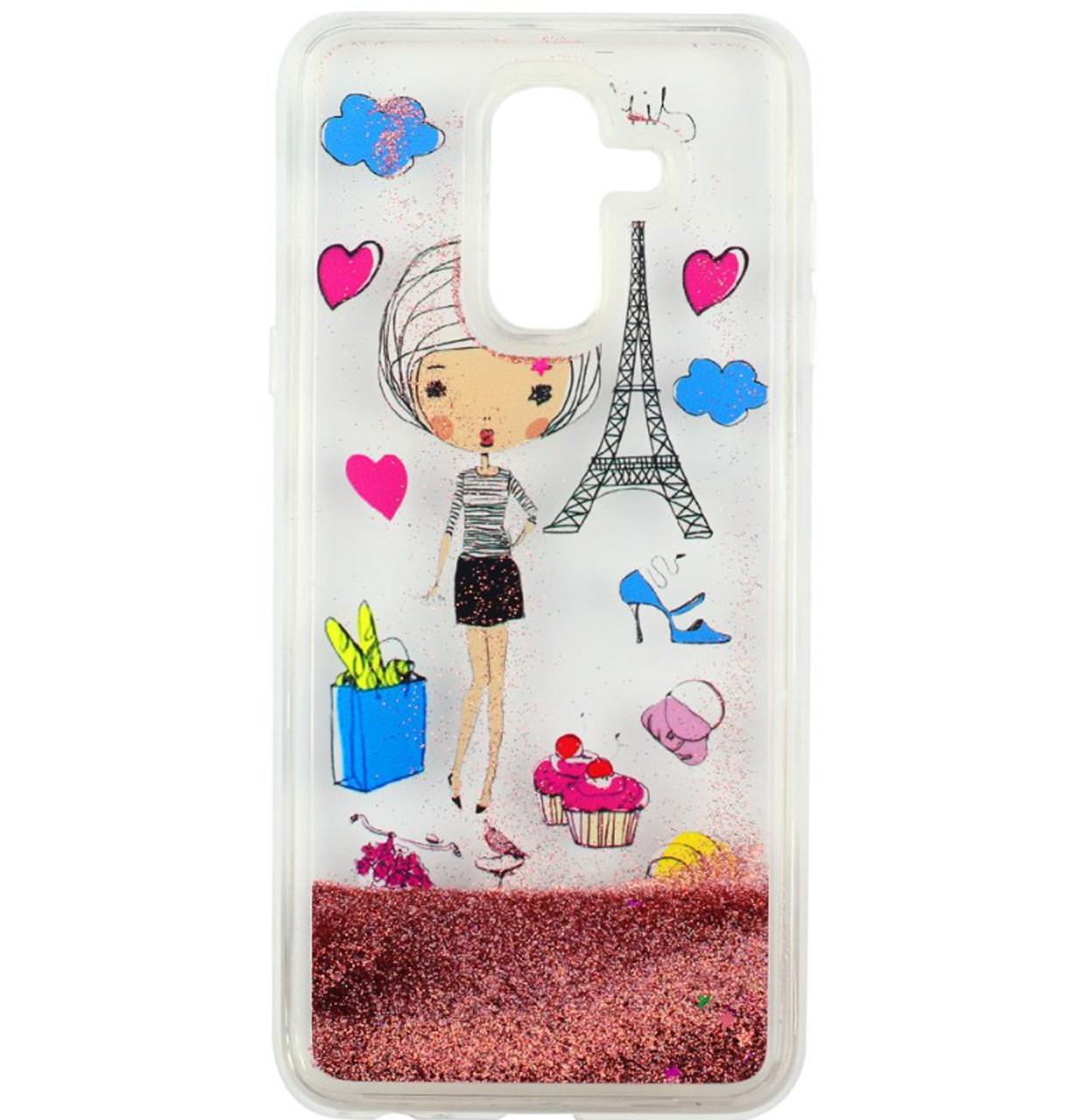 Чехол-накладка (Жидкий Блеск) Lady для Samsung Galaxy A6 Plus (2018) SM-A605F Pink