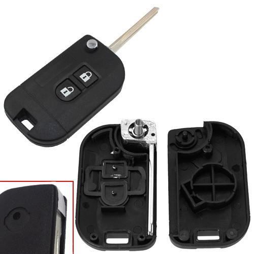 Выкидной ключ зажигания, заготовка корпус под чип, 2 кнопки, Nissan