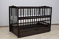 """Детская кроватка ТМ Дубик-М """"Веселка"""" с откидным бортиком и ящиком. Цвет: венге, фото 1"""