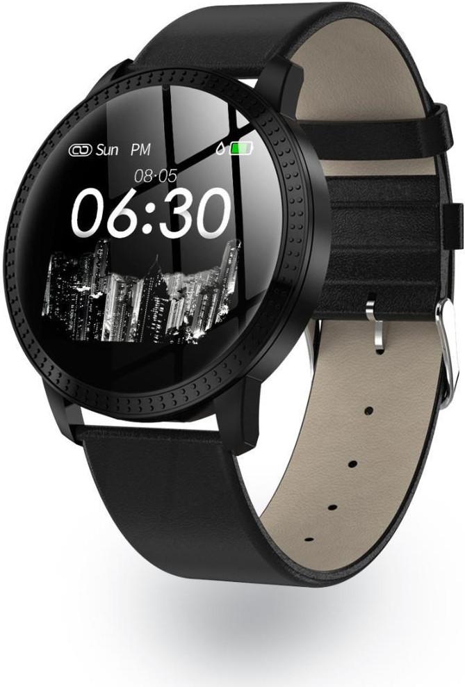 Умный фитнес браслет Lemfo CF18 leather с измерением давления (Черный)