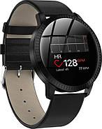 Умный фитнес браслет Lemfo CF18 leather с измерением давления (Черный), фото 3
