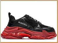 Женские стильные кроссовки Balenciaga Triple S Clear Sole Black Red (баленсиага трипл с, черные / красные )