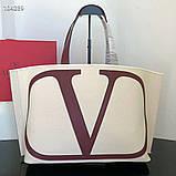 Сумка шоппер від Валентино натуральний текстиль і натуральна шкіра, фото 2