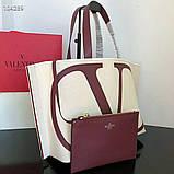 Сумка шоппер від Валентино натуральний текстиль і натуральна шкіра, фото 7