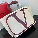 Сумка шоппер від Валентино натуральний текстиль і натуральна шкіра, фото 9
