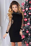 Женское нарядное платье с фатином и хомутом 46 РАЗМЕР