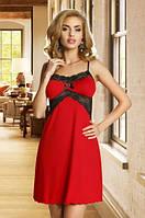 Женский пеньюар красного цвета с черным кружевом. Модель Bona Eldar