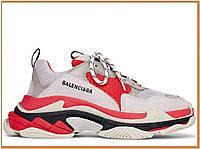 Женские стильные кроссовки Balenciaga Triple S Grey Red (баленсиага трипл с, серые / красные )