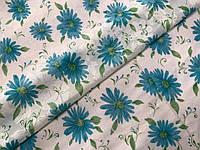 Коттон рисунок цветы, бирюзовый