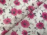 Коттон рисунок цветы, малиновый