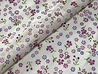 Коттон рисунок мелкие цветочки, фиолетовый