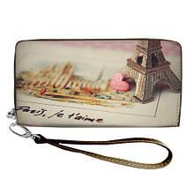 Кошелек женский стильный принт с ручкой на молнии, размер 18,5 х 10 см Париж 094