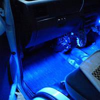 Мощная LED подсветка салона автомобиля 12В 4 светильника, синяя