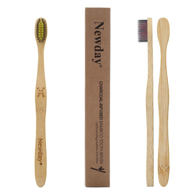 Зубная щетка из бамбука NEWDAY для взрослых 19 см Панда