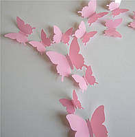 Бабочки 3D розовые 3Д декор наклейки
