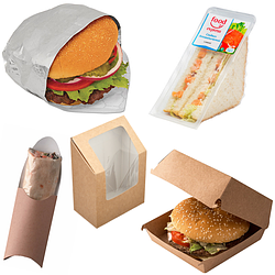 Упаковка для сэндвичей, бургеров и бутербродов