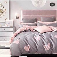 Полуторный качественный комплект постельного белья в сердечки