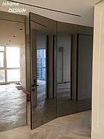 Двери скрытого монтажа со стеклом