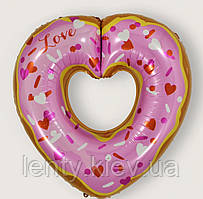 """Куля """"Пончик серце"""" 75см -рожевий Sweet Party"""