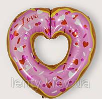 "Шар ""Пончик сердце"" 75см -розовый Sweet Party"